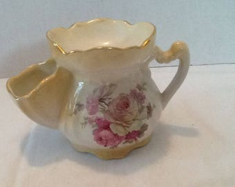 Old Foley shaving mug by James Kent Ltd. , Staffordshire, England. Decorated with a rose pattern and guilding, a gentleman's mug for shaving