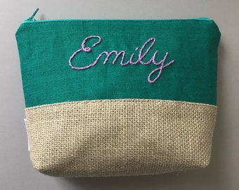 Personalized Cosmetic Pouch - Hand Embroidered Bridesmaids Gift