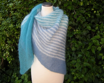 Shawl Triangle knit triangular scarf kid mohair silk Turquoise, white, light blue
