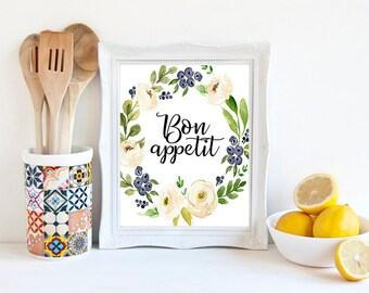 Bon appetit sign, floral kitchen print, dining room decor, french quote, restaurant quote, floral kitchen decor, kitchen art, digital poster