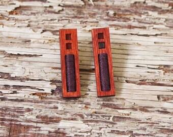 Long rectangle, wooden earrings, laser cut jewelry.