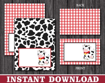 Cow Tent Cards | Cow Print Buffet Cards, Food Labels, Place Cards | Printable Digital File | INSTANT DOWNLOAD