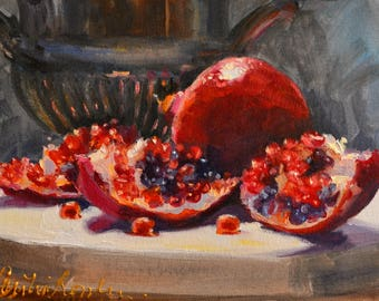 Original Painting still life of POMEGRANATES with SILVER URN,  perfect gift for mom,