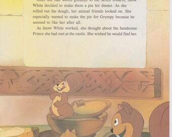 "Vintage Disney Print, Snow White and the Seven Dwarfs, Childrens Art, Nursery Art, 11.25"" x 8.5"" , Snow White Print"