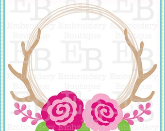 Roses Antler Wreath SVG - This design is to be used on an electronic cutting machine. Instant Download