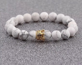 Beautiful Crown Natural Stone Charm Copper Bead Bracelet