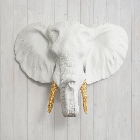 White Faux Elephant Head By Wall Charmers Faux Taxidermy   Faux Animal Resin Wall Mount Fauxidermy   Boho Wall Decor   African Wall Art by Etsy