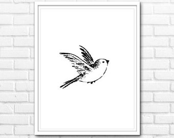 Bird Print, Black and White Prints, Modern Prints, Printable Art, Black and White Nature Decor, Prints, Wall Decor INSTANT DOWNLOAD - 1052