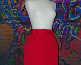 Lovely unusual red pencil skirt with pockets