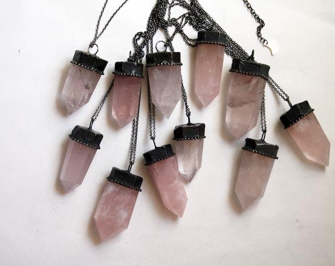Rose Quartz Crystal Tower Necklace // Natural Rose Quartz Point Necklace // Rose Quartz Obelisk Necklace