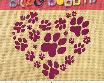 Dog, Cat, Paw, Heart - Digital Embroidery Design