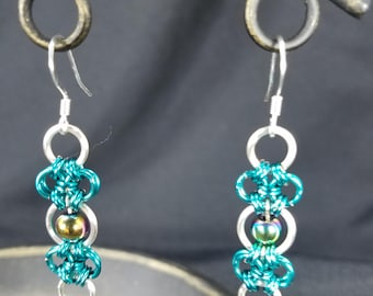Wire  Ring Earrings With Hematite Bead