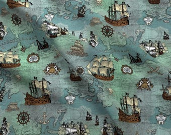 Ship Map Fabric - Pirate Ships Map Blue Small Repeat By Teja Jamilla - Sailing Map Nursery Decor Cotton Fabric By The Yard With Spoonflower