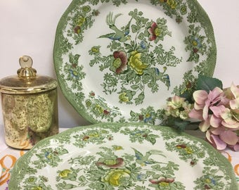 """Extra Large Vintage Enoch Wedgwood Asiatic Pheasants, 'Kent' 12"""" Plate, Green, 2 Available"""