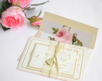 Blush and Gold Wedding Invites, Lace Invite, Gold Glitter Invites, Blush Wedding Invitations, Floral Liner- Vintage Romance with Liner