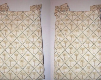 "PAIR  Waverly Lined Curtain Panels Tab Top Palm Tree Tangier Sage Tropical Tahiti 97Wx79""L"