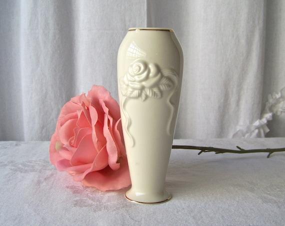 Vintage Lenox Vase Flower Vase Porcelain Embossed Rose Bud
