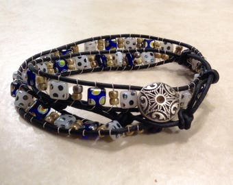 Adjustable Leather Wrap Bracelet