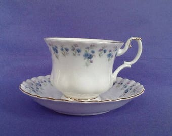 Royal Albert Memory Lane Teacup And Saucer, Bone China England Blue Floral Border Tea Cup Duo