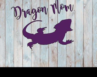 Dragon mom- Bearded dragon decal- Decal for dragon- Beardie gift- Inexpensive dragon mom- Window decal- Car decal- Laptop sticker- Dragons