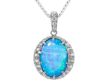 Blue Opal & CZ Diamond Pendant, Vibrant Cultured Opal set in 925 Sterling Silver
