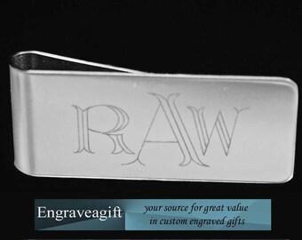 Monogram, Stainless Steel  Money Clip, Personalized Engraving, Monogrammed, Custom Monogram Engraved