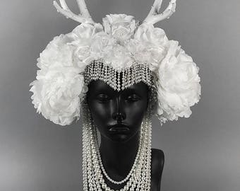 White Antler Headdress Headpiece