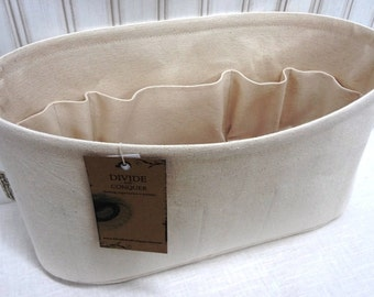 """fits Artsy MM / Ready to Ship / Purse Organizer Shaper / Oval 15"""" x 6"""" x 6""""H / Color NATURAL / Stiff wipe-clean bottom / Sturdy & Durable"""