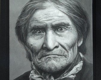 Enhanced Giclee Print, Framed Canvas, GERONIMO, 14x11
