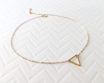 Gold Triangle Choker, Open Triangle Necklace, Sterling Silver Triangle Choker, Silver Triangle Necklace, Modern Choker