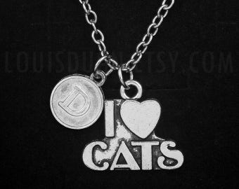 I Love Cats Necklace -Cat Lovers Gift -Initial Charm Necklace -Your Choice of A to Z