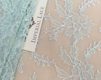 Mint blue lace trim, Solstiss lace trimming, Chantilly Lace trim, Bridal lace, French Lace, Wedding Lace, Lingerie Lace, by the yard MK00233