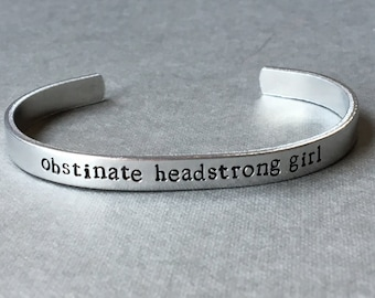 Obstinate Headstrong Girl / Pride and Prejudice / Jane Austen / Feminist Gift / Literary Gift / Literary Bracelet / Girl Power / Book Nerd