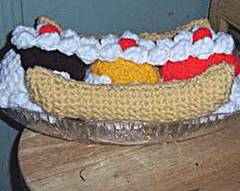 Banana Split, Crochet Food Pattern
