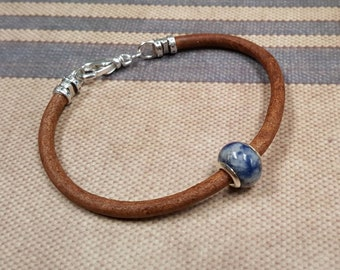 The Last One Sodalite and Sterling Silver Bead Mens Thick Leather Bracelet