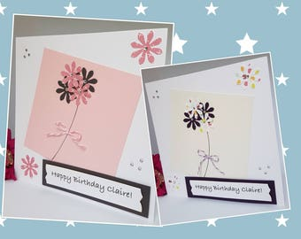 Personalised Birthday Thank You Get Well Love Thinking of you Card Handmade For Her Flowers Ladies Girls Friends Patterned Gems Pastels BD62