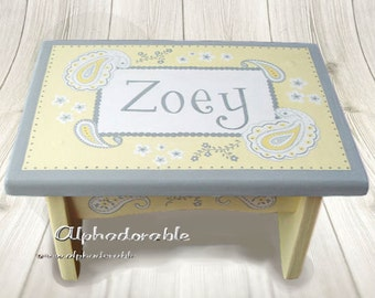 Artisan hand painted custom wooden step stool ~ Courtney Paisley ~ As seen on TLC's The Little Couple!