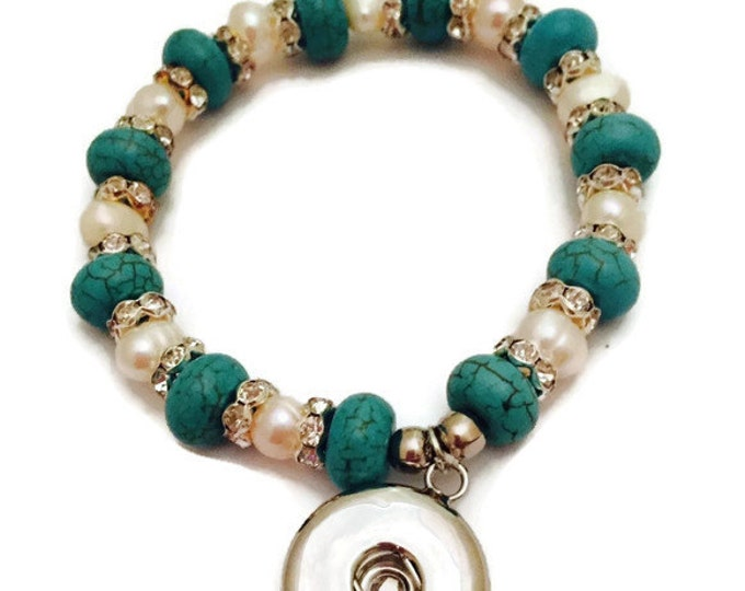 Snap Bracelet-Beaded Snap Bracelet, Turquoise and Pearl Snap Bracelet- Fits all Standard 18mm Snap Buttons- Interchangeable Snap Bracelet