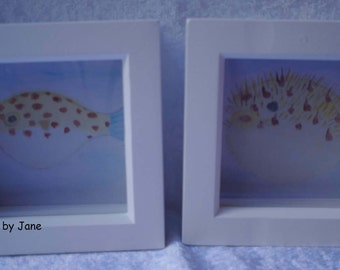 Set of two original watercolours,a puffer fish before and after