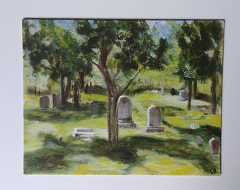 "Original Acrylic Painting 11x14 Cemetery Gravestones Trees,Old Cemetery, Not for everyone art, by NJ artist Linda Robinson ""Deep Shade"""