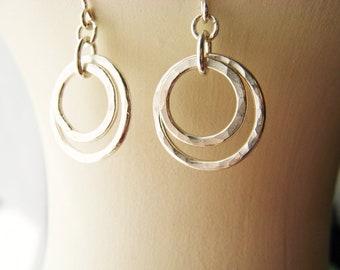 Sterling Silver Earrings - Circles Hammered Rings Everyday Wear Modern Hoop Sister Classic Gift