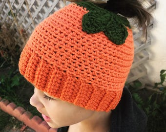 Handmade Crochet Pumpkin Hat- Crochet Pony-tail Hat- Adult or Child size