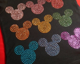 In Stock and Ready to Ship CHILD SIZE MEDIUM (9/10) - Mickey head multi color rhinestud tee by 1286 Kids (formerly Daisy Creek Designs)