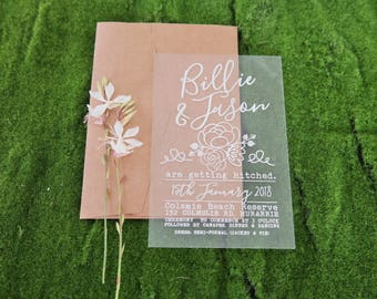 Acrylic invitations, laser engraved acrylic stationery. Pack of 10.