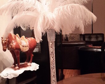 "Ostrich Feather Centerpiece  16"" Eiffel Tower Sweet 16-Graduation-Bridal Shower-Gatsby-Birthday-Wedding-Anniversary-Conference-Party"