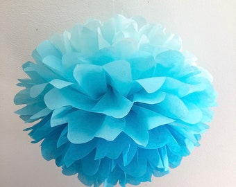 BLUE OMBRE tissue paper pompom first boy birthday party decoration baby bridal shower cinderella theme graduation turquoise aqua photo prop