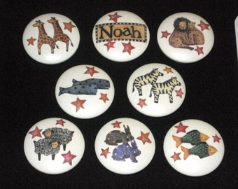 REaDY To SHiP - Set of 8 NOAH'S ARK KNOBS - Hand Painted