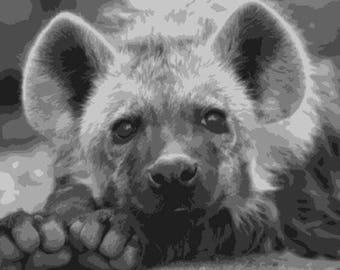 Hyena, Layered Papercut Template, Wildife, Papercut Portrait, Animal, Commercial Use, Personal Use