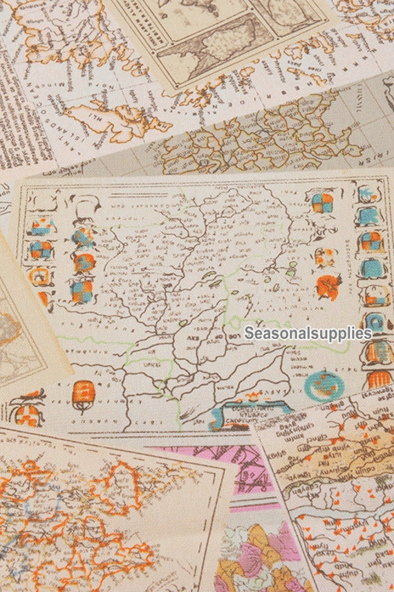 Retro cotton linen fabric vintage map fabric of the england 720 gumiabroncs Image collections