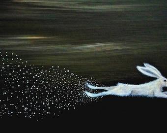Running Hare and Stars Archival Art Print - Illustration/White Hare/Stralight/Night Sky/Ethereal/Whimsical/Animal Art/Art Gifts